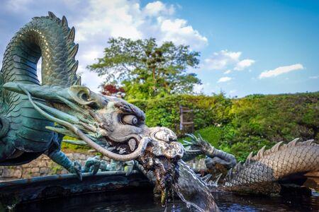 Traditional japanese dragon fountain in Nikko, Japan