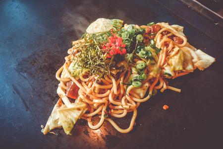 Yakisoba teppanyaki, japanese traditional hot plate food, Kyoto, Japan