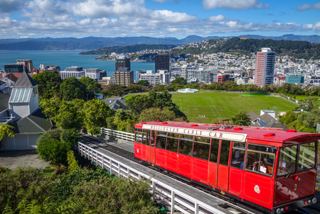 Wellington city cable car in New Zealand 스톡 콘텐츠