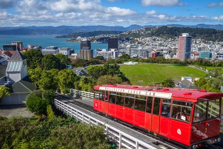 Wellington city cable car in New Zealand Standard-Bild