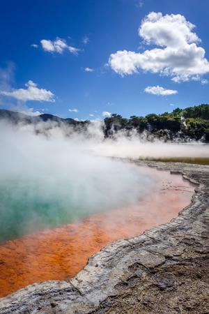 Champagne Pool hot lake in Waiotapu geothermal area, Rotorua, New Zealand