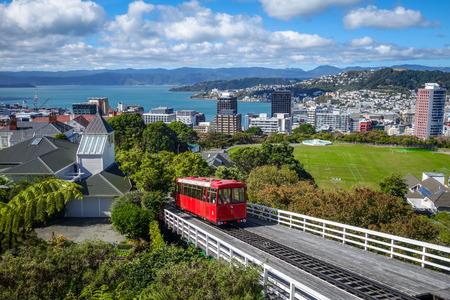 Wellington city cable car in New Zealand Archivio Fotografico