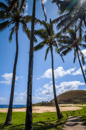 Anakena palm beach and Moais statues site ahu Nao Nao, easter island, Chile