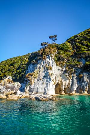 Abel Tasman National Park. Creek and turquoise sea. New Zealand
