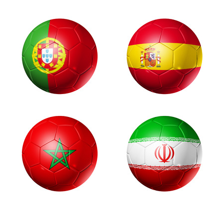 3D soccer balls with group B teams flags, Football competition Russia 2018. isolated on white Stock fotó - 94450512