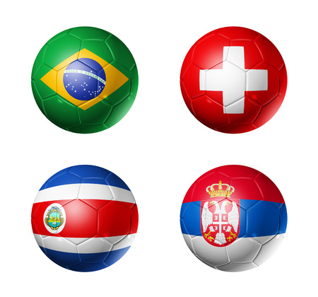 3D voetballen met groep E teams vlaggen, voetbalcompetitie Rusland 2018. geïsoleerd op wit Stockfoto - 94450513
