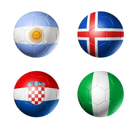 3D voetballen met groep D teams vlaggen, voetbalcompetitie Rusland 2018. geïsoleerd op wit Stockfoto - 94450820