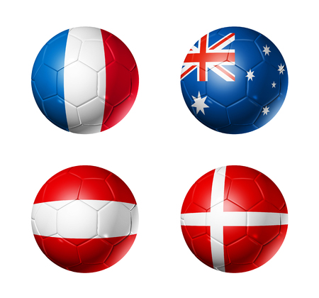 3D soccer balls with group C teams flags, Football competition Russia 2018. isolated on white