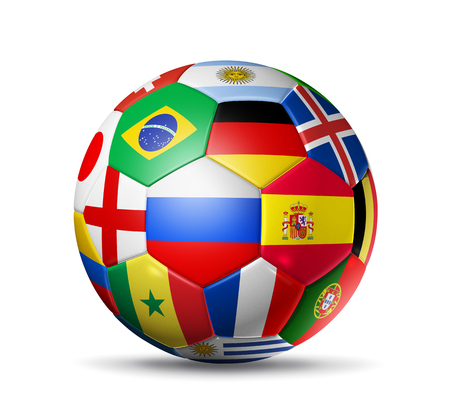 3D football soccer ball with team national flags. Russia 2018. Isolated on white Imagens
