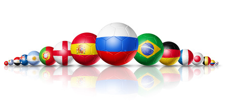 3D football soccer balls with team national flags. Russia 2018. Isolated on white Archivio Fotografico