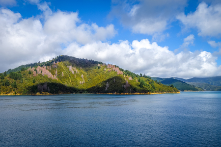 Marlborough Sounds coast and hills, New Zealand Stock Photo