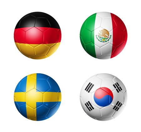 3D voetballen met groep F teams vlaggen, voetbalcompetitie Rusland 2018. geïsoleerd op wit Stockfoto - 94450926