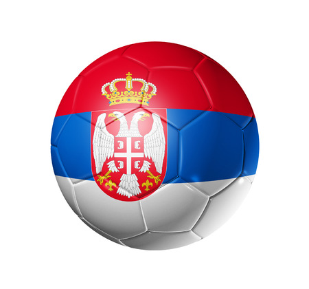 3D soccer ball with Serbia team flag. isolated on white.