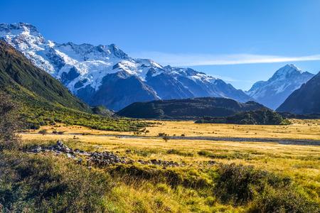 Aoraki Mount Cook mountain landscape, New Zealand Stock Photo