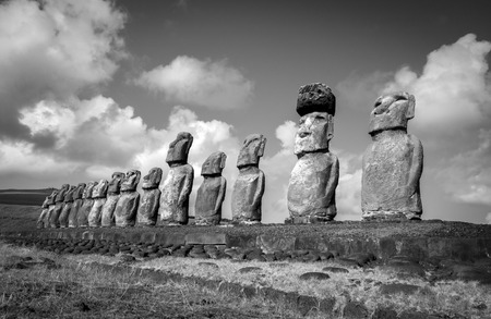 Moais statues, ahu Tongariki, easter island, Chile. Black and white picture
