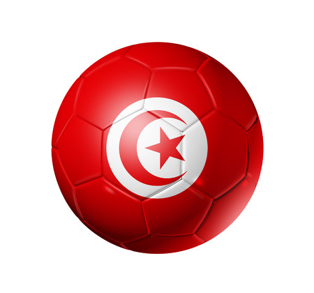 3D soccer ball with Tunisia team flag. isolated on white.