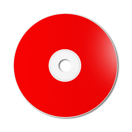 Red CD - DVD label mockup template isolated on white