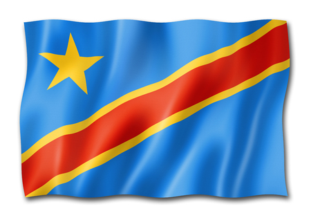 Democratic Republic of the Congo flag, three dimensional render, isolated on white