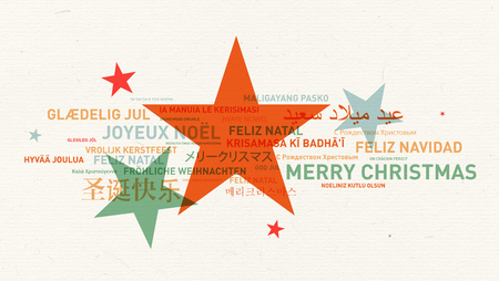 Merry christmas from the world on star background. Different languages celebration vintage card Banque d'images