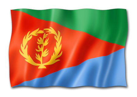 Eritrea flag, three dimensional render, isolated on white