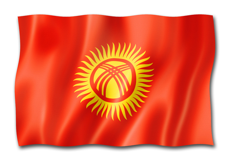 Kyrgyzstan flag, three dimensional render, isolated on white
