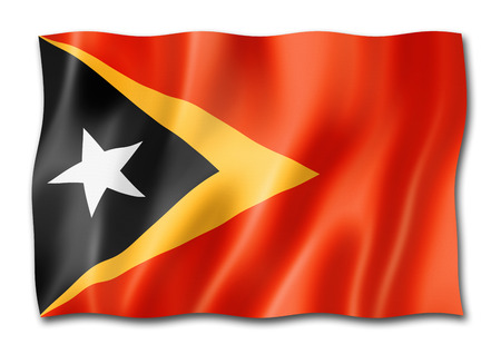 East Timor flag, three dimensional render, isolated on white Stock Photo