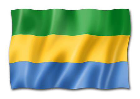 Gabon flag, three dimensional render, isolated on white