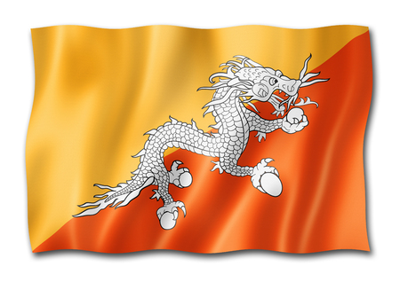 Bhutan flag, three dimensional render, isolated on white