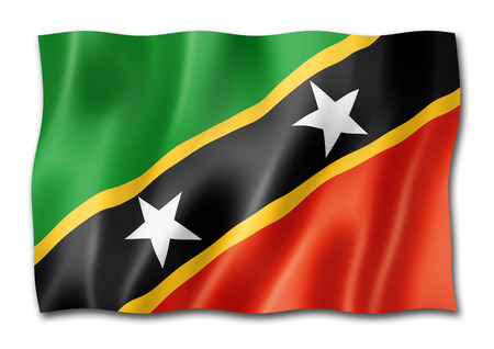 Saint Kitts And Nevis flag, three dimensional render, isolated on white