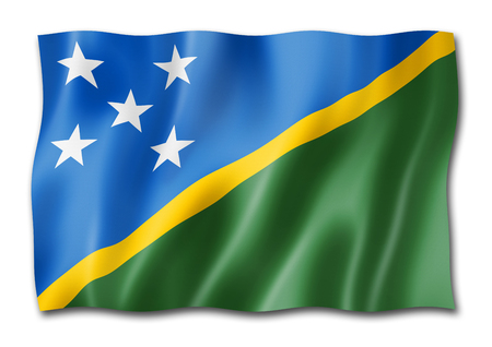 Solomon Islands flag, three dimensional render, isolated on white Stock Photo - 108002429