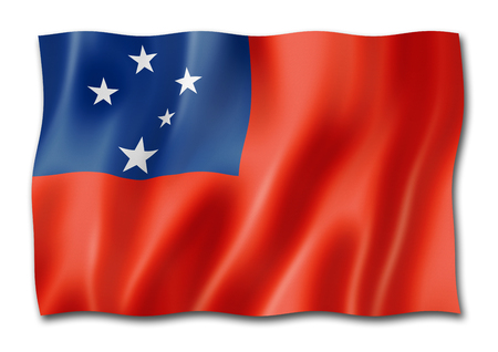 Samoa flag, three dimensional render, isolated on white
