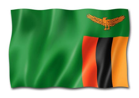 Zambia flag, three dimensional render, isolated on white