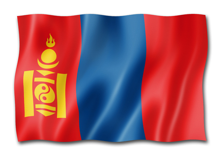 Mongolia flag, three dimensional render, isolated on white