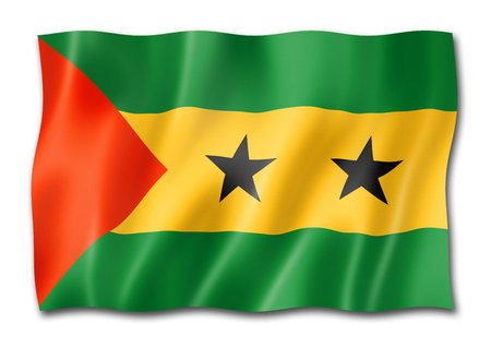 Sao Tome and Principe flag, three dimensional render, isolated on white Stock Photo