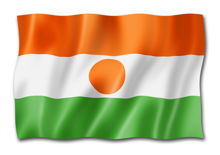 Niger flag, three dimensional render, isolated on white