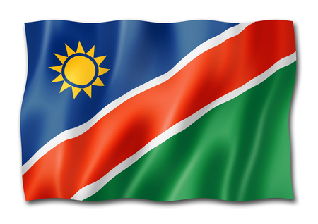 Namibia flag, three dimensional render, isolated on white Stock Photo - 108002449