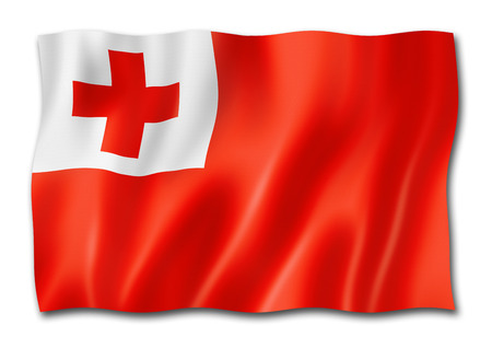 Tonga flag, three dimensional render,  isolated on white
