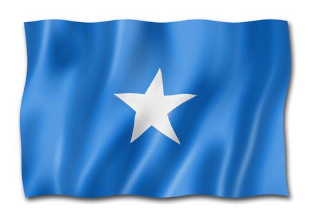Somalia flag, three dimensional render, isolated on white