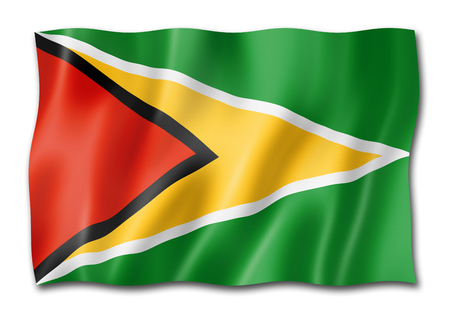 Guyana flag, three dimensional render, isolated on white Stock Photo - 109282716