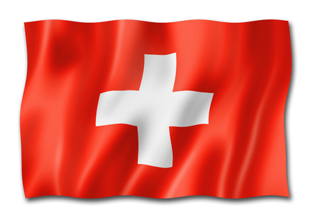 Switzerland flag, three dimensional render, isolated on white Standard-Bild - 109282720