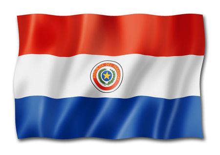 Paraguay flag, three dimensional render, isolated on white Stock Photo