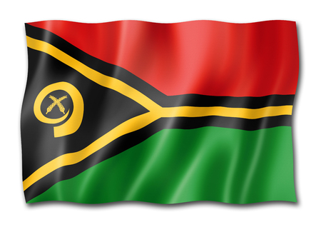 Vanuatu flag, three dimensional render, isolated on white Stock Photo