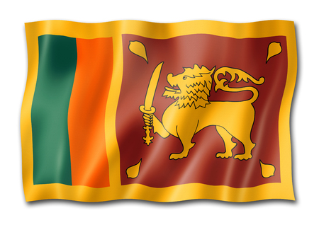 Sri Lanka flag, three dimensional render, isolated on white