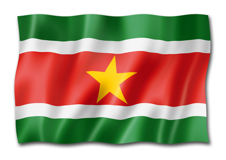 Suriname flag, three dimensional render, isolated on white
