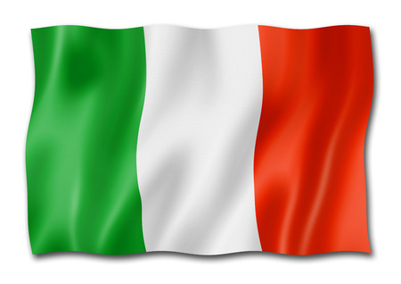 Italy flag, three dimensional render, isolated on white Stock Photo