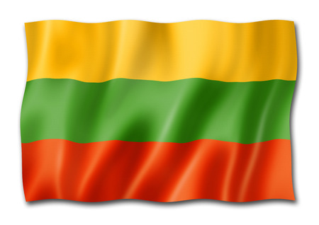 Lithuania flag, three dimensional render, isolated on white Stock Photo
