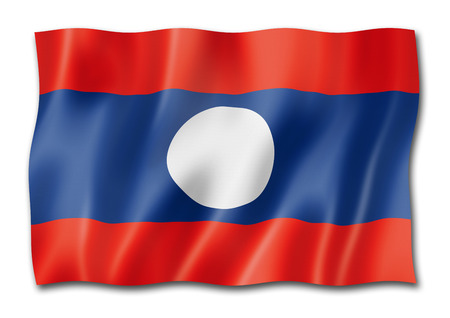 Laos flag, three dimensional render, isolated on white