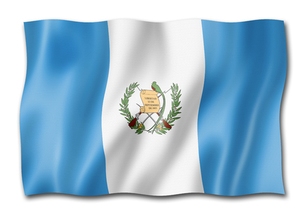 Guatemala flag, three dimensional render, isolated on white