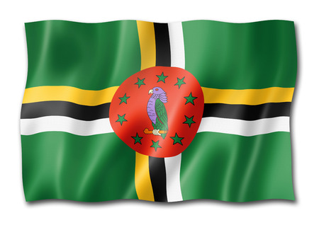 Dominica flag, three dimensional render, isolated on white