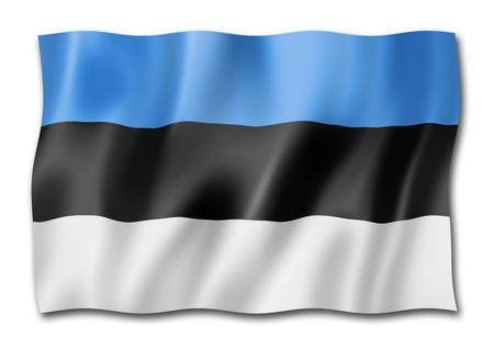 Estonia flag, three dimensional render, isolated on white Stock Photo - 109349657
